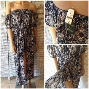 NWT LF House of Three Floral Maxi Skirt Romper